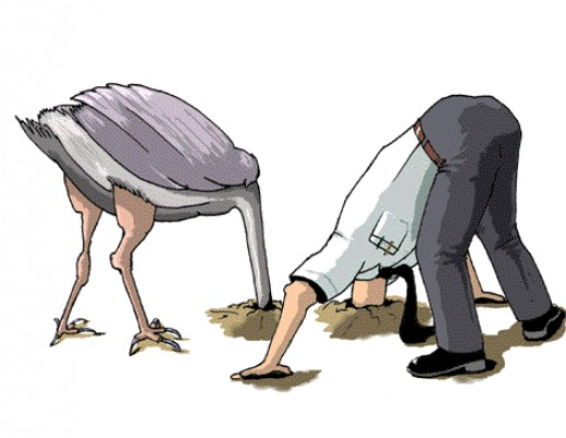 Ostrich & businessman with their heads in the ground